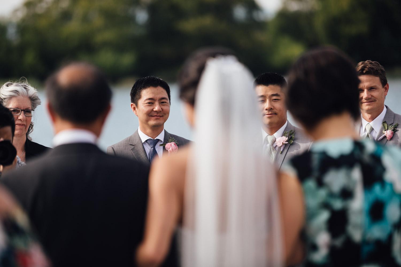 ubc boathouse wedding photography richmond bc groom reaction