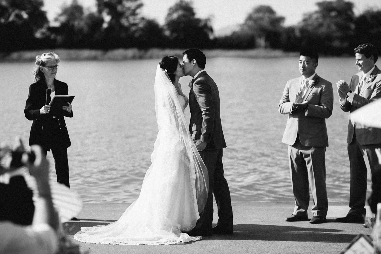 ubc boathouse wedding photography richmond bc first kiss