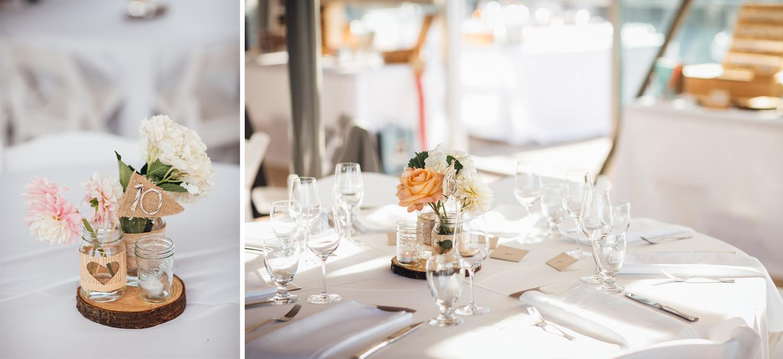 ubc boathouse wedding reception table decoration