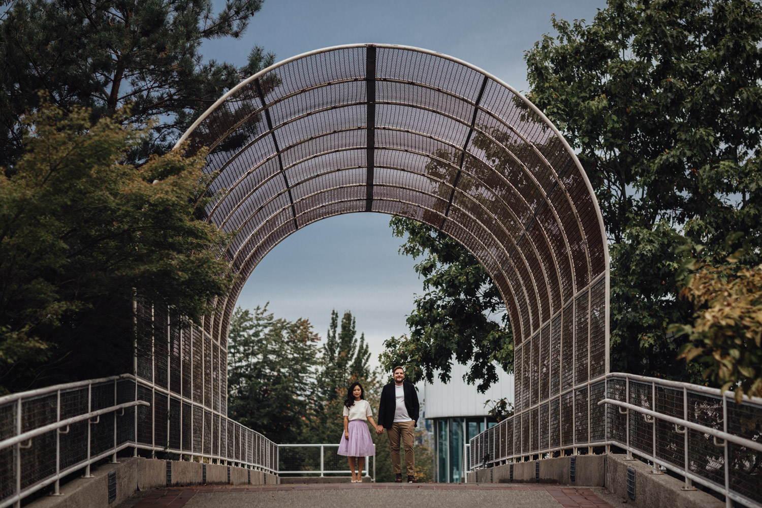 waterfront park bridge in north vancouver for engagement photography