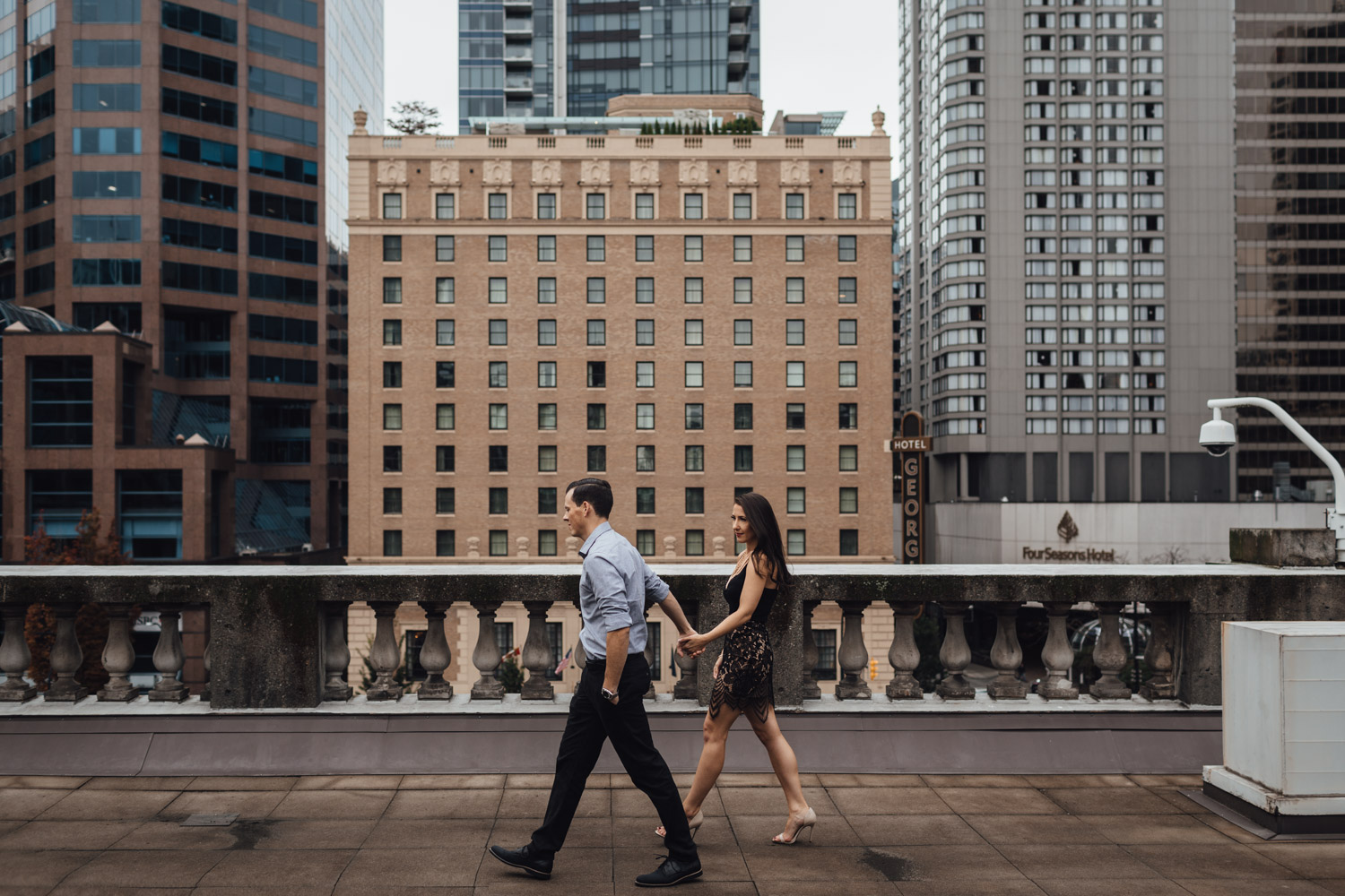 vancouver art gallery rooftop engagement photography downtown vsco