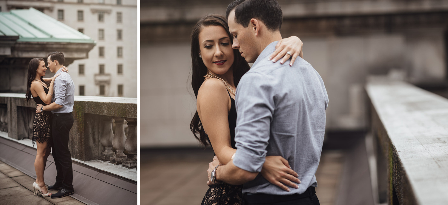 rooftop engagement photography at vancouver art gallery bc