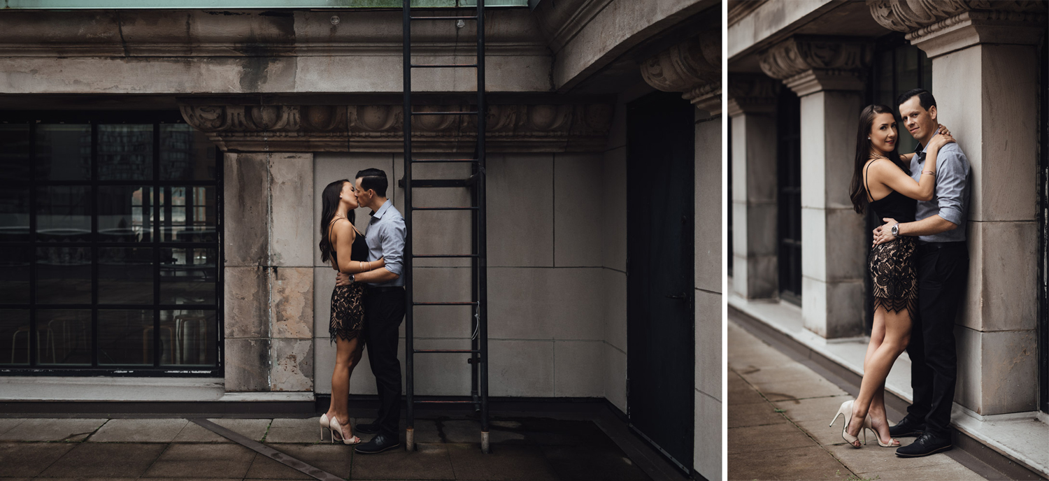 vancouver art gallery engagement photography rooftop downtown autumn fall season