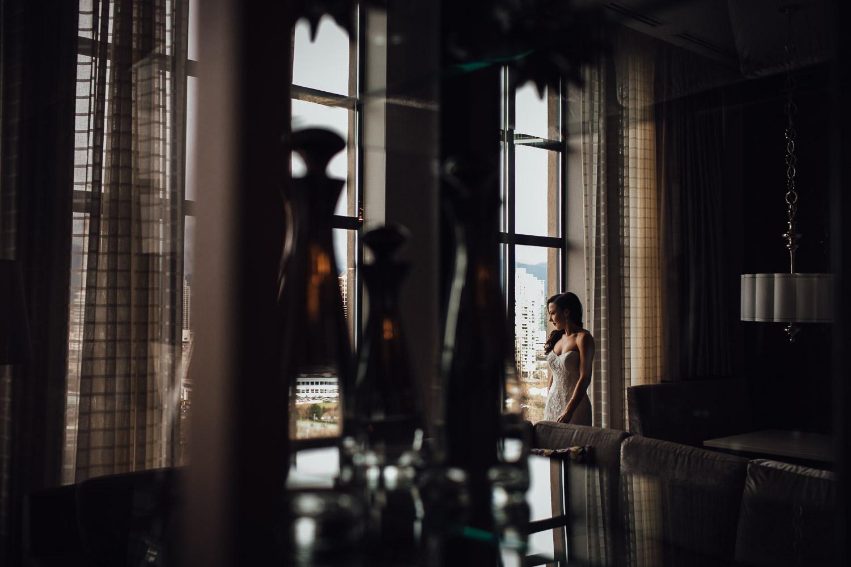 bride getting ready window reflection art vsco wedding photography burnaby