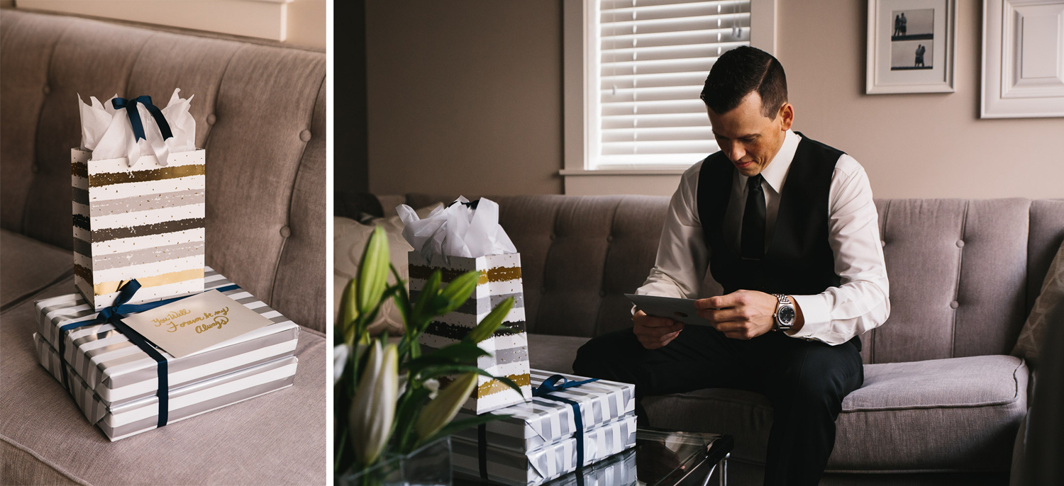 groom opens gift from bride wedding photography in richmond