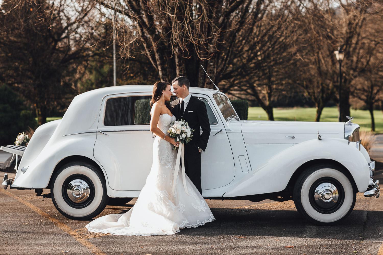 swaneset wedding photography pitt meadows bride and groom rolls royce classic car