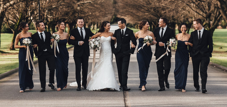 bridal party candid walk swaneset driveway trees wedding photography pitt meadows
