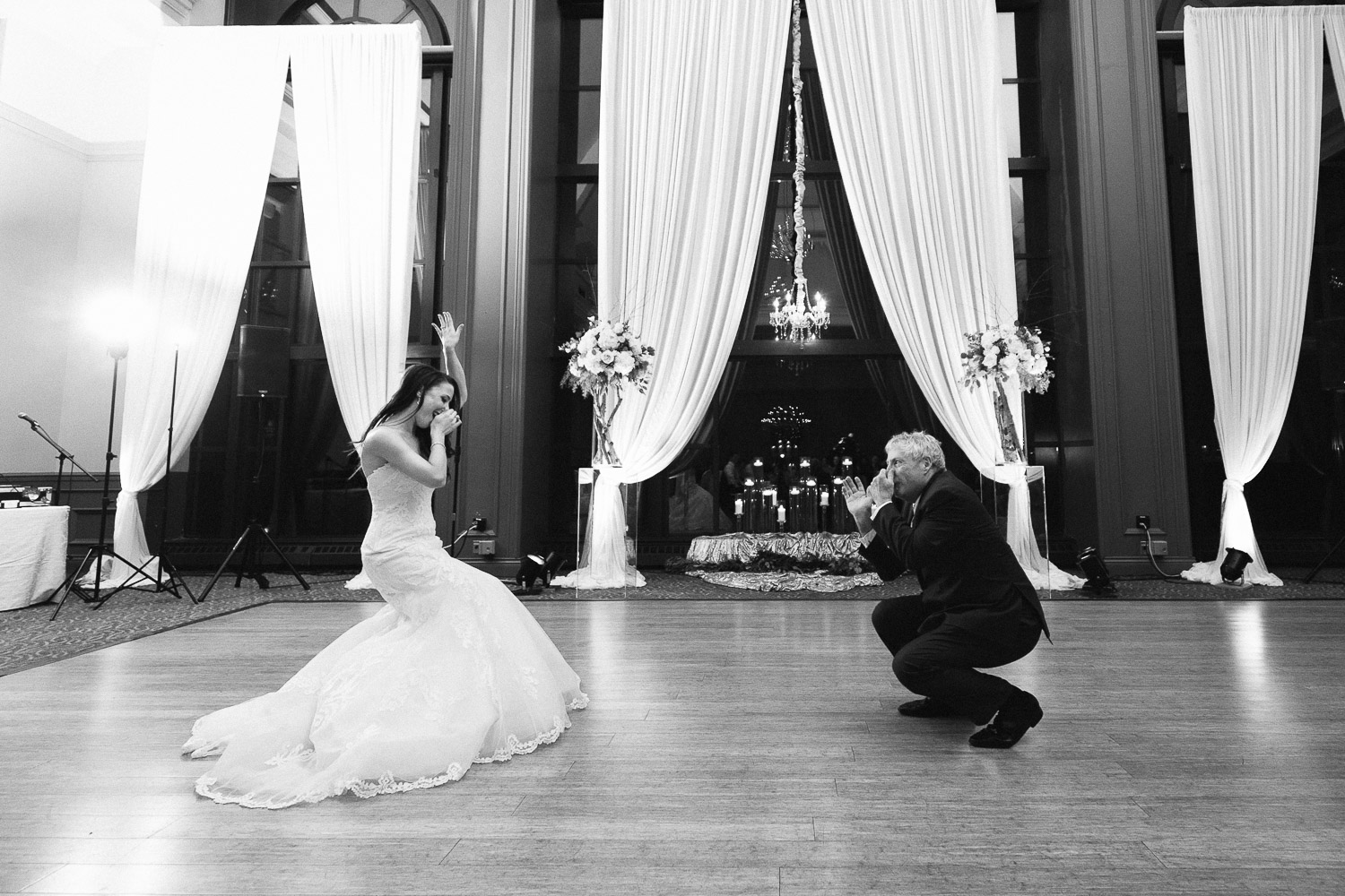 bride and father dance fun swaneset wedding reception photography