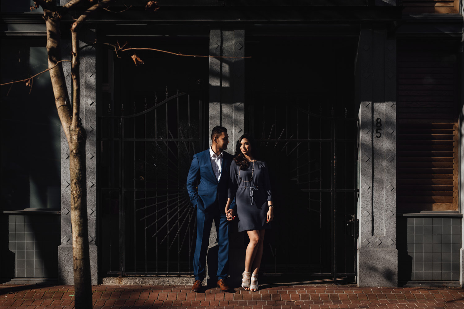 vancouver engagement photography in gastown during sunset