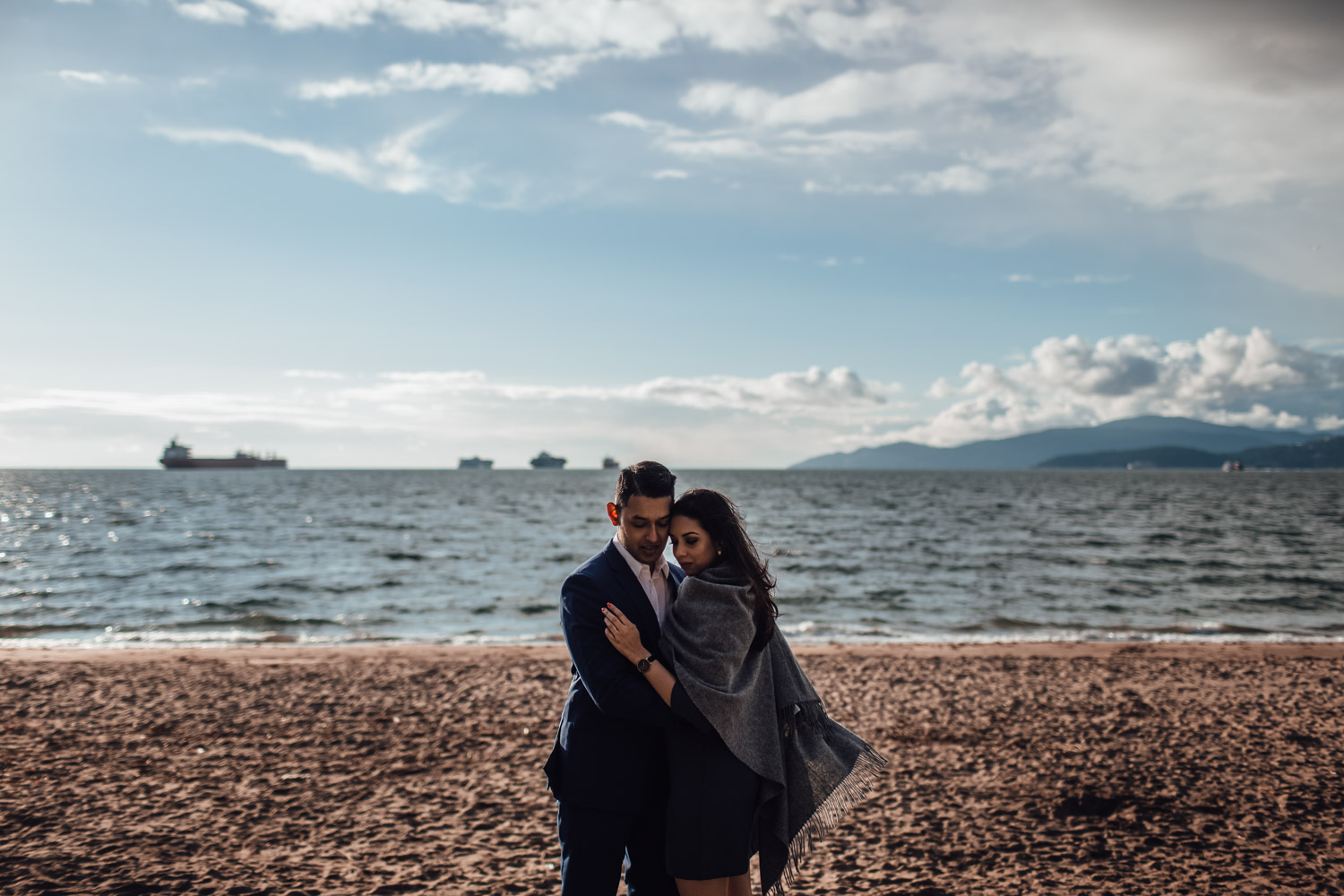 sunset at third beach engagement photography in stanley park