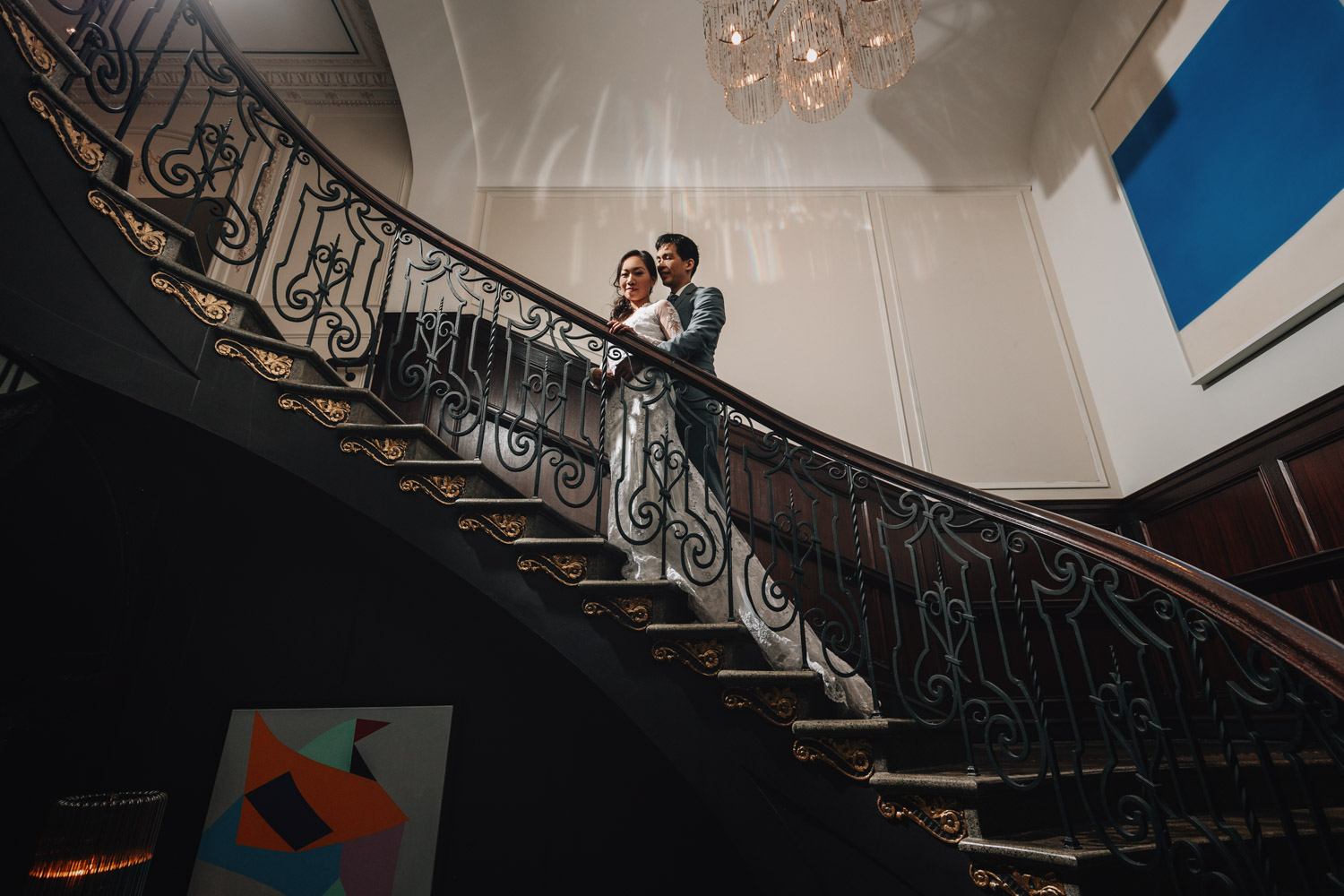 rosewood hotel georgia engagement photography staircase