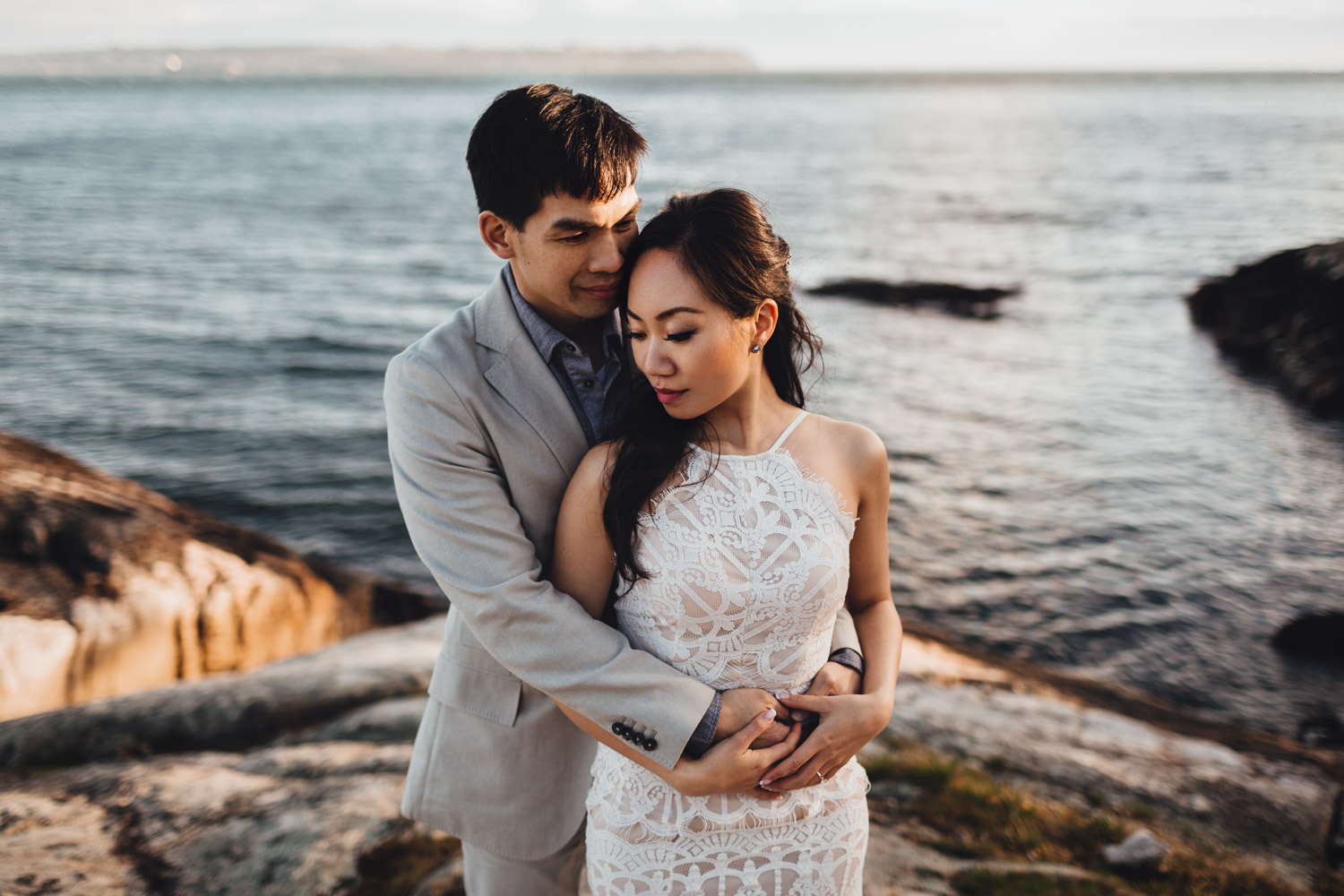 west vancouver engagement photography rocks water and sunset