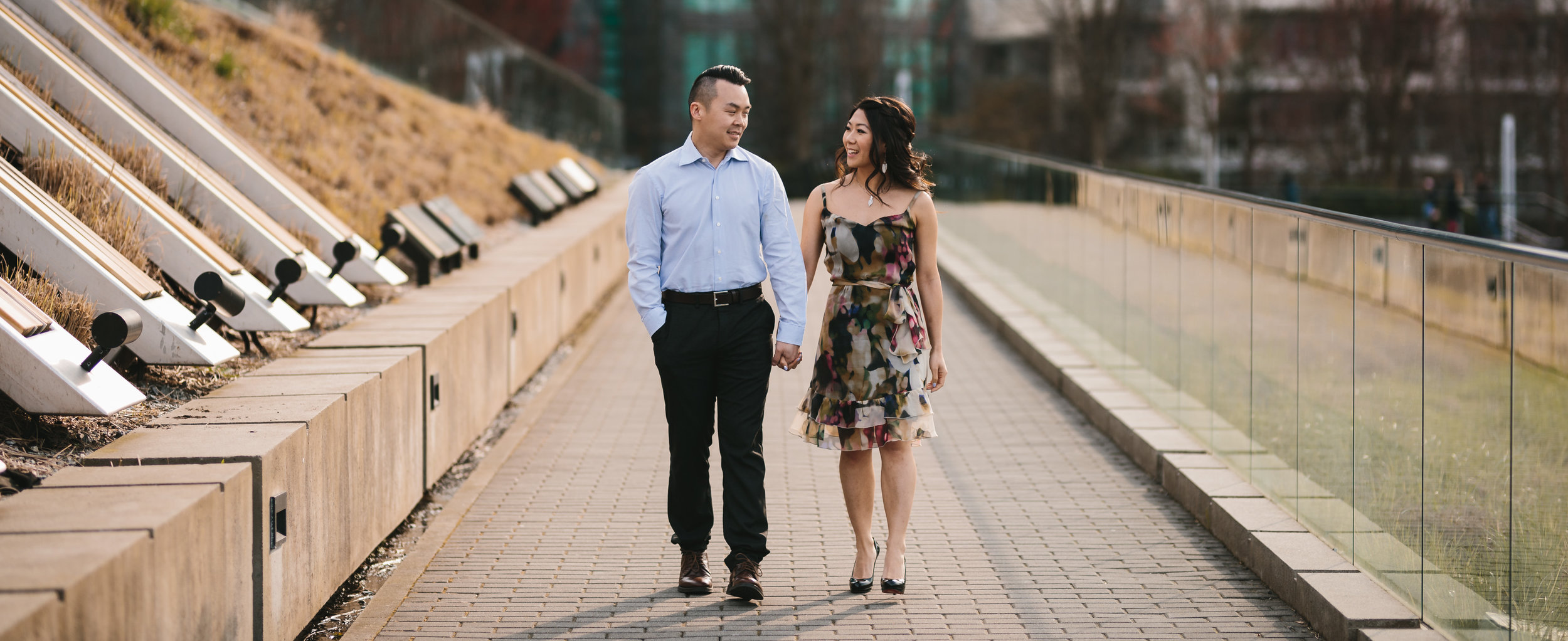 vancouver engagement photography in coal harbour during sunset in spring