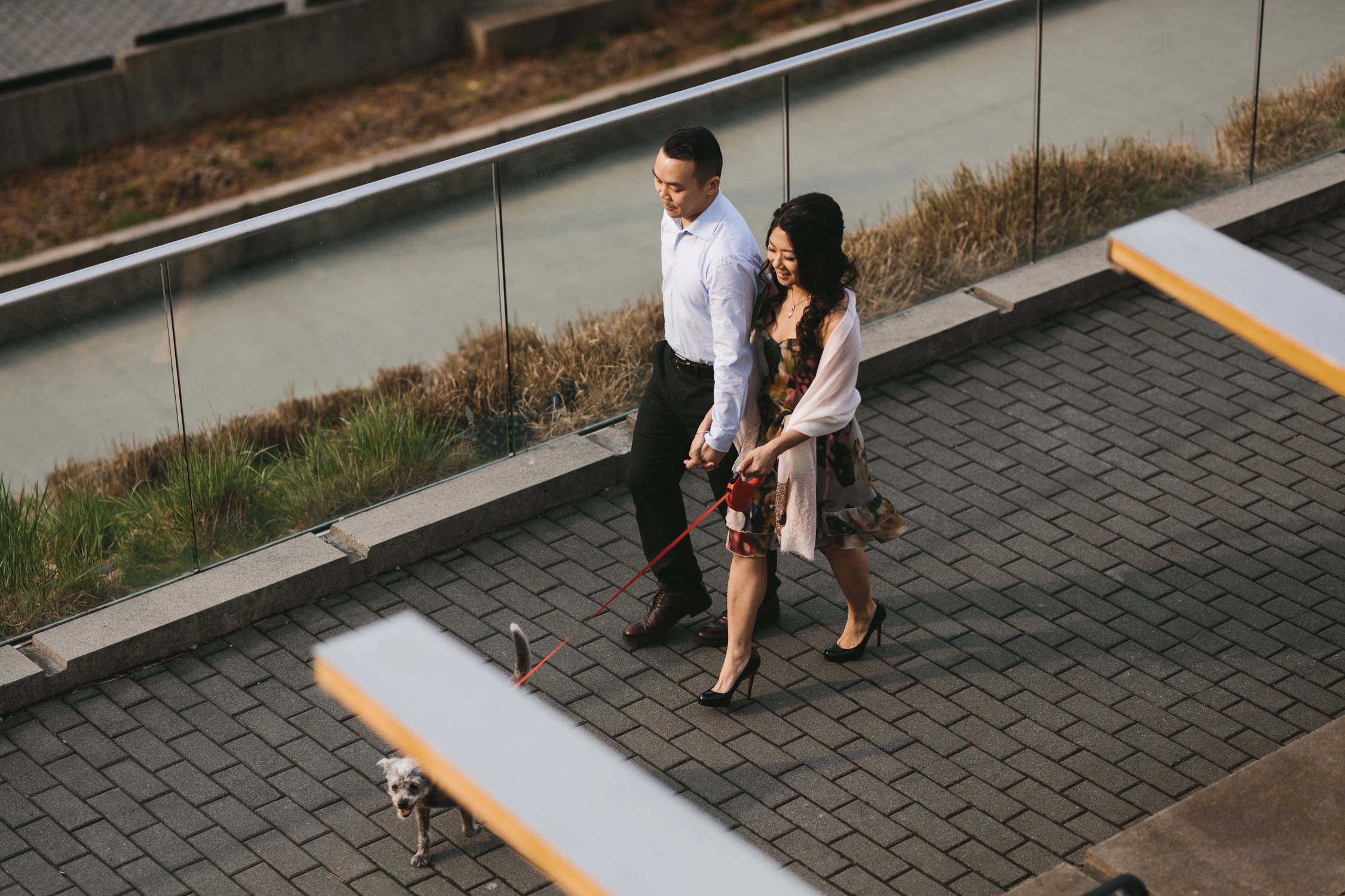 vancouver cherry blossom engagement photography in coal harbour downtown during sunset