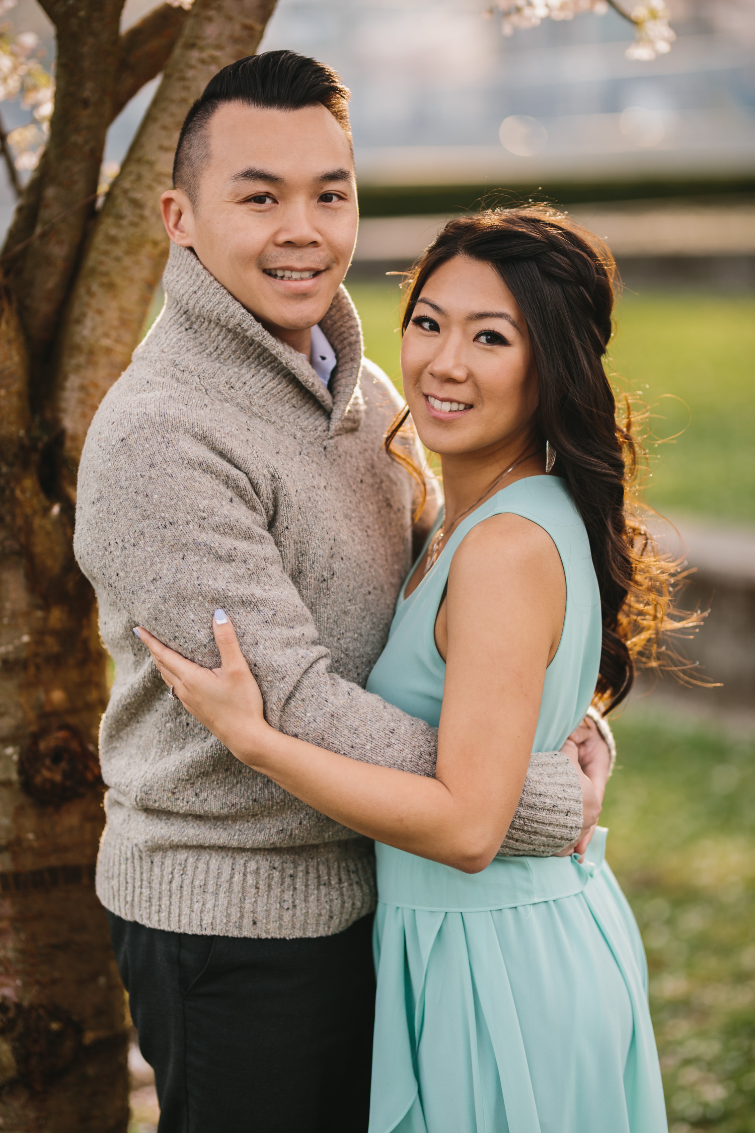 vancouver cherry blossom engagement photography in yaletown david lam park