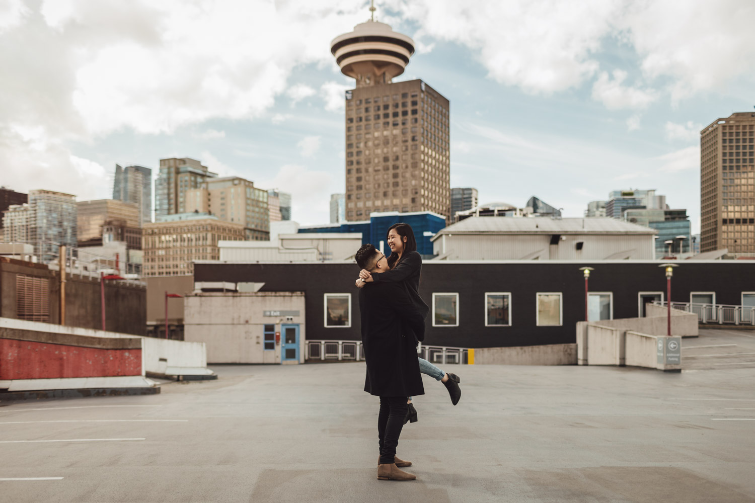 gastown rooftop city view engagement photography in vancouver bc