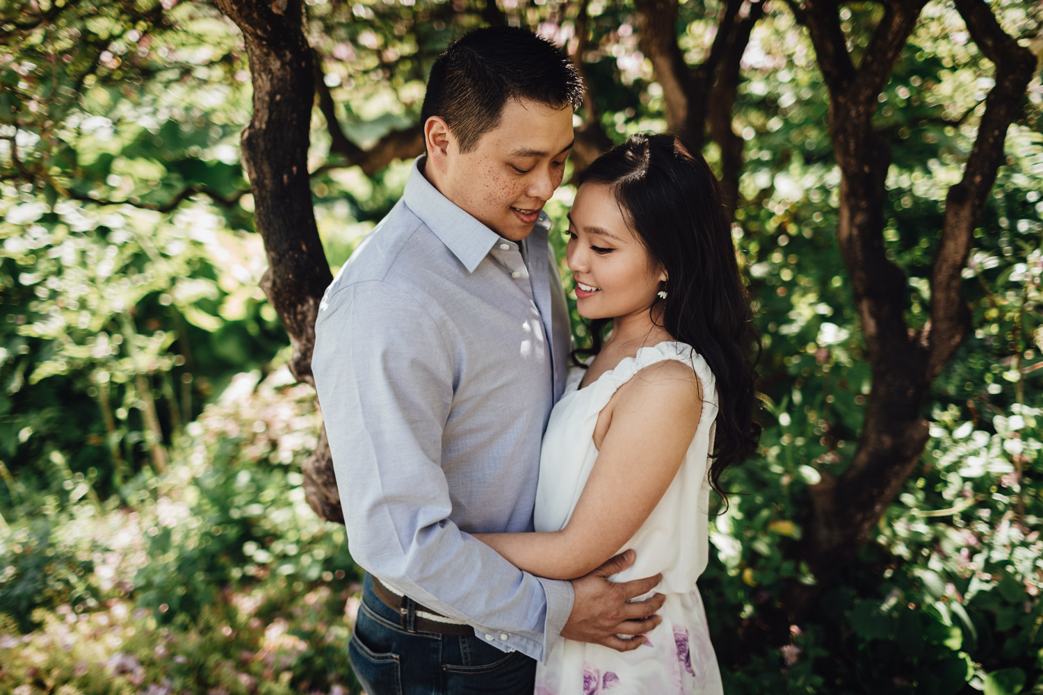 vancouver engagement photography in rose garden stanley park