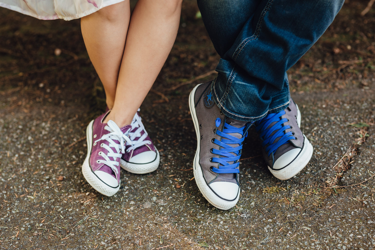 converse shoes engagement photography in stanley park