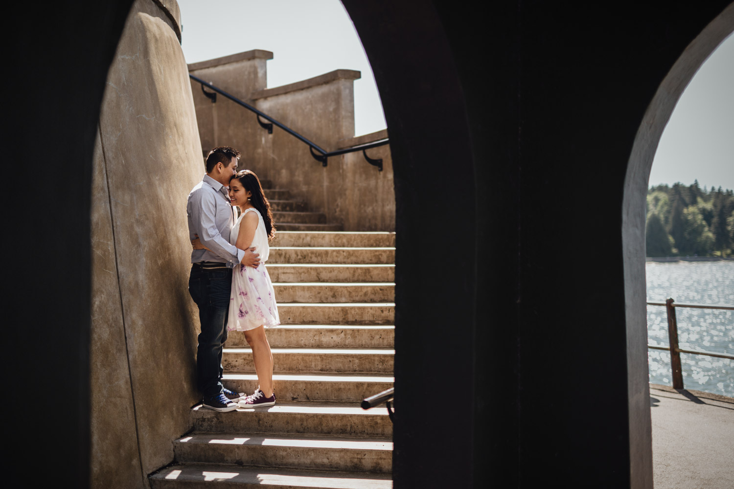 stanley park engagement photography at brockton point lighthouse vancouver bc