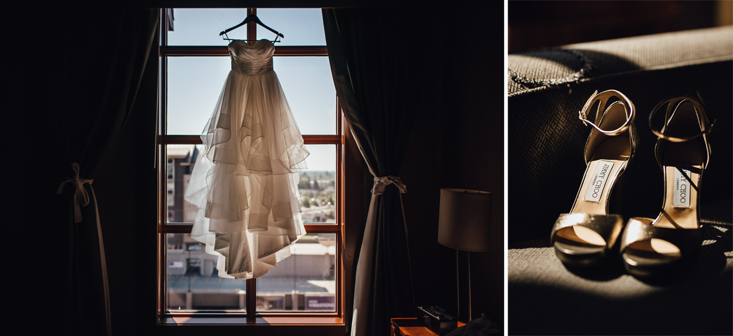 richmond wedding photography river rock casino hotel bride getting ready dress and shoes