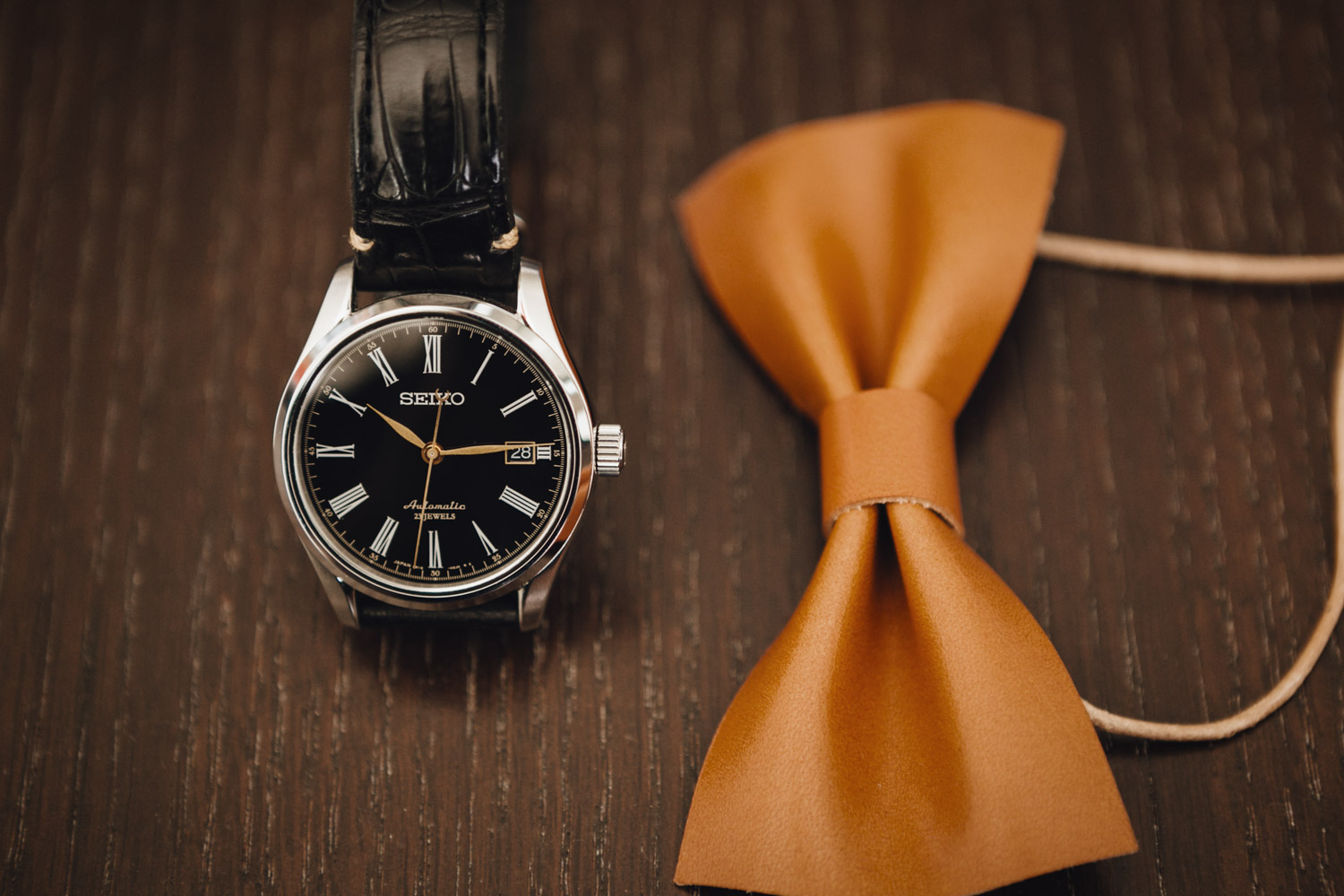 groom watch and bowtie leather vancouver wedding photography