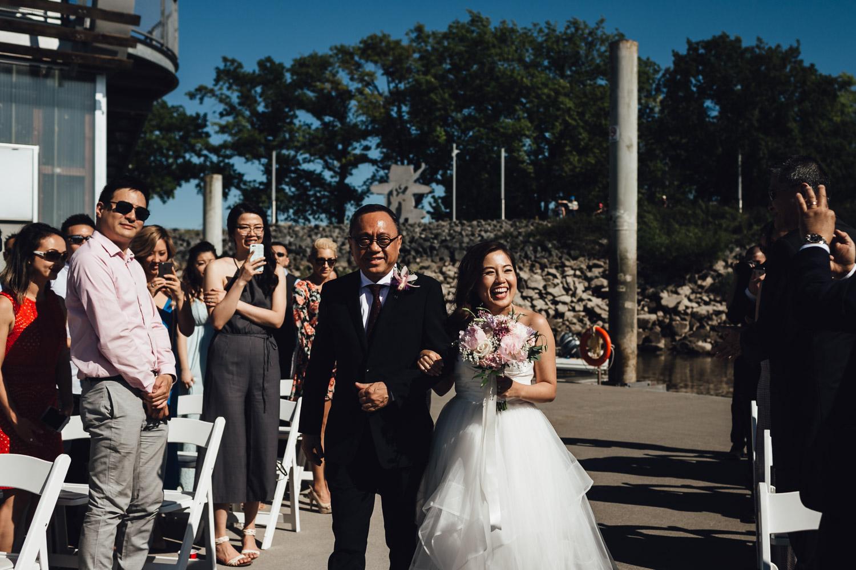 ubc boathouse wedding photography ceremony dock summer