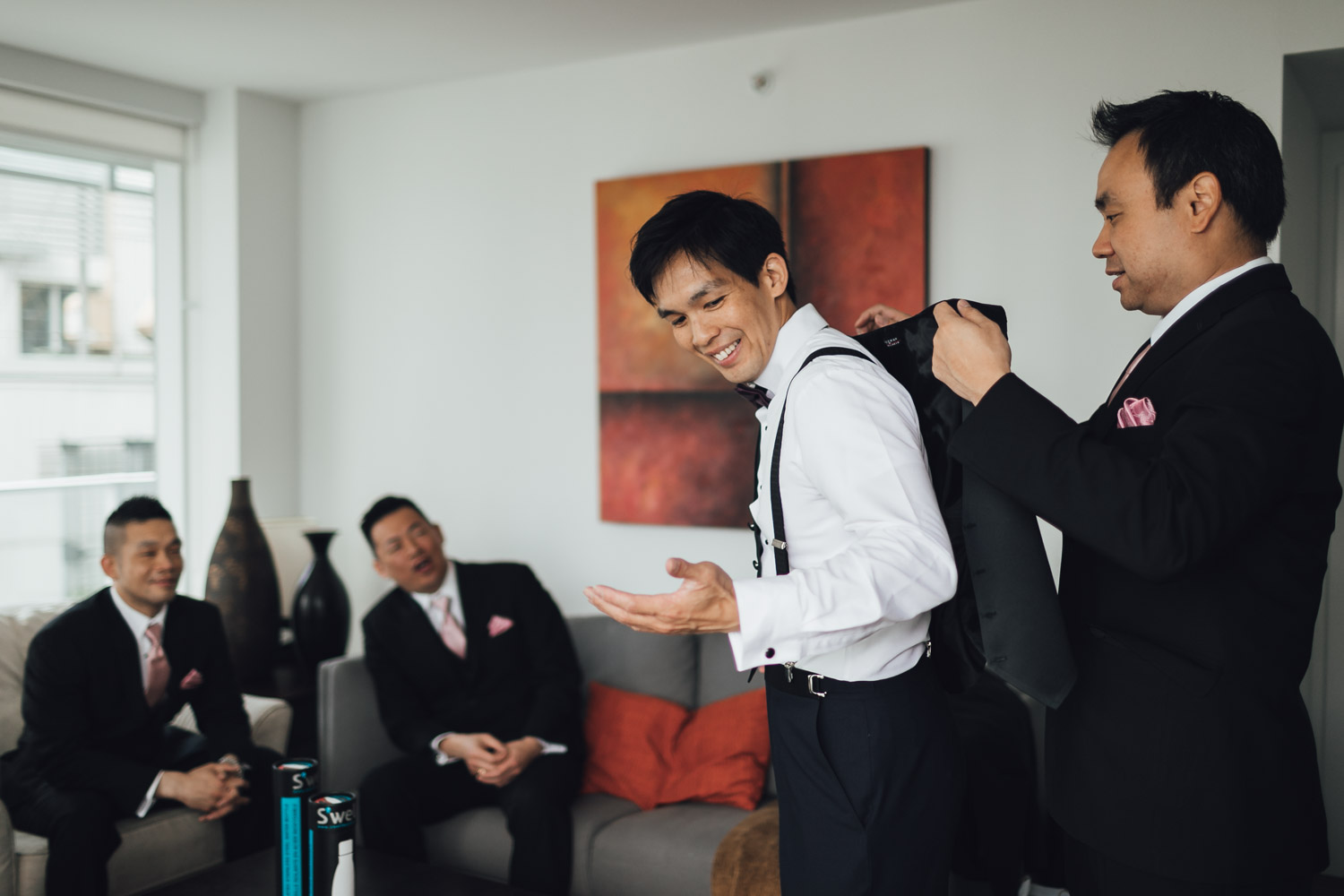 vancouver wedding photography yaletown groom getting ready