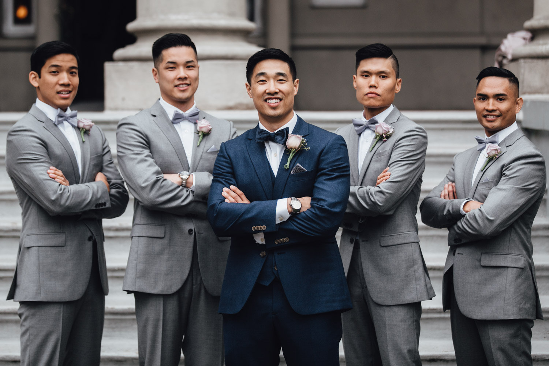 bridal party portrait groomsmen at university women's club of vancouver