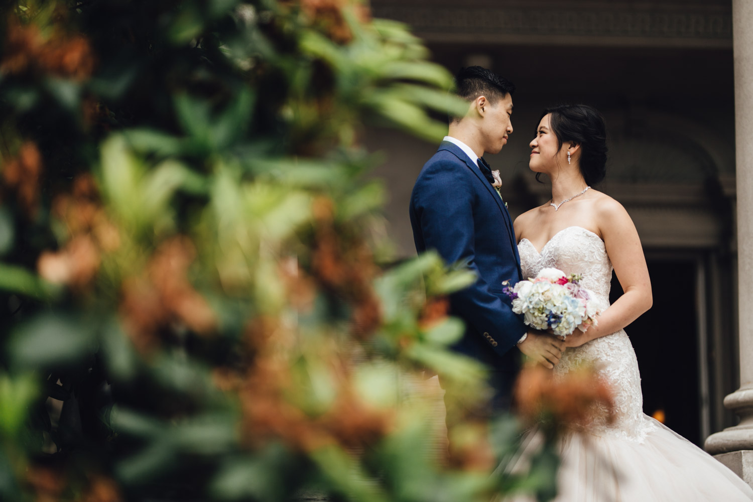 bride and groom portrait at university women's club of vancouver