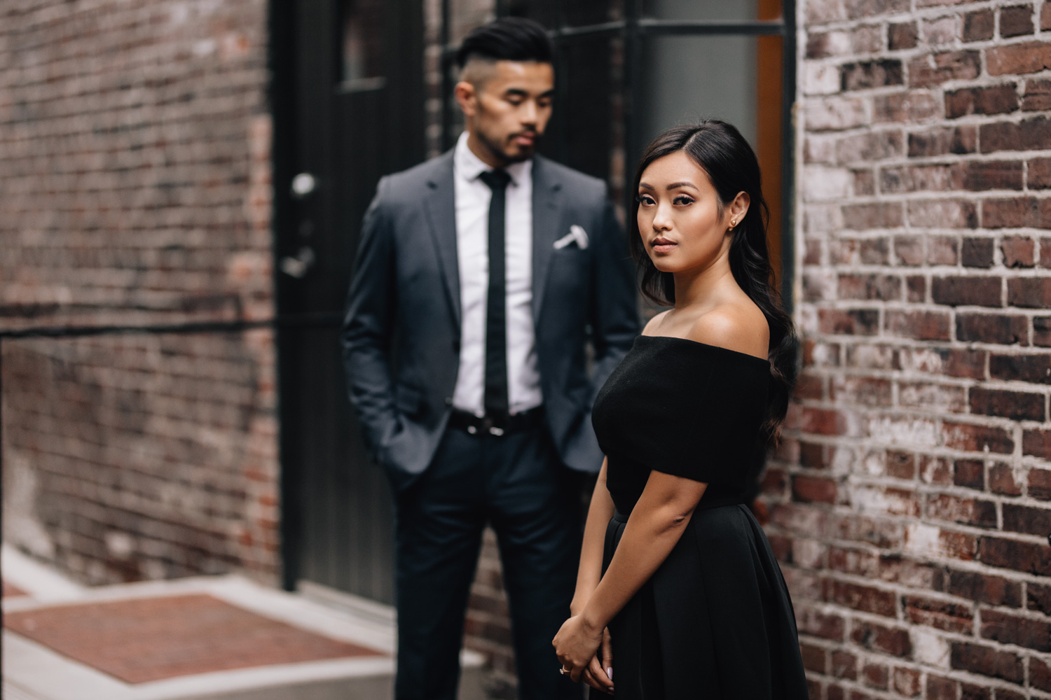 gastown vancouver engagement photography during sunset bc
