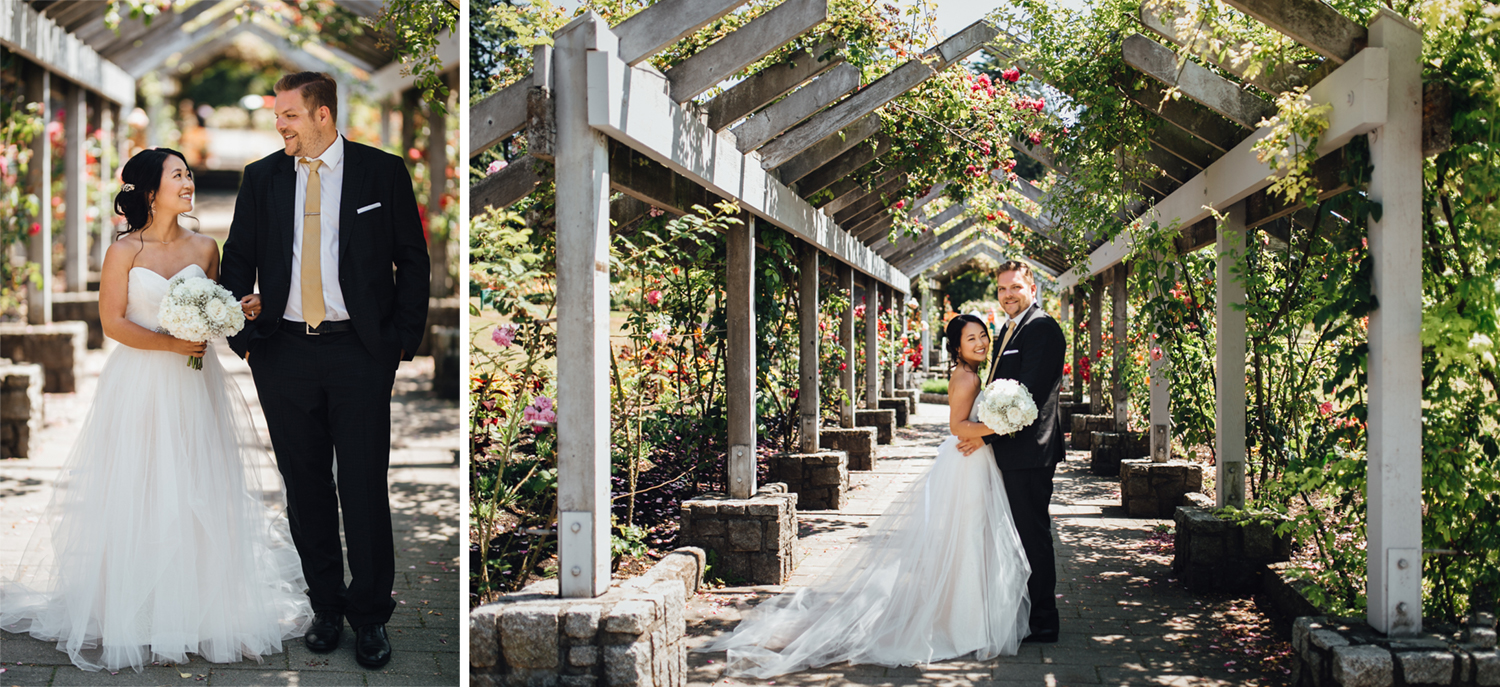 bride and groom in rose garden stanley park wedding photography vancouver bc