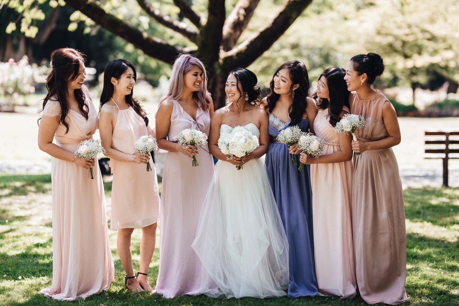 bridal party in rose garden stanley park wedding photography vancouver bc