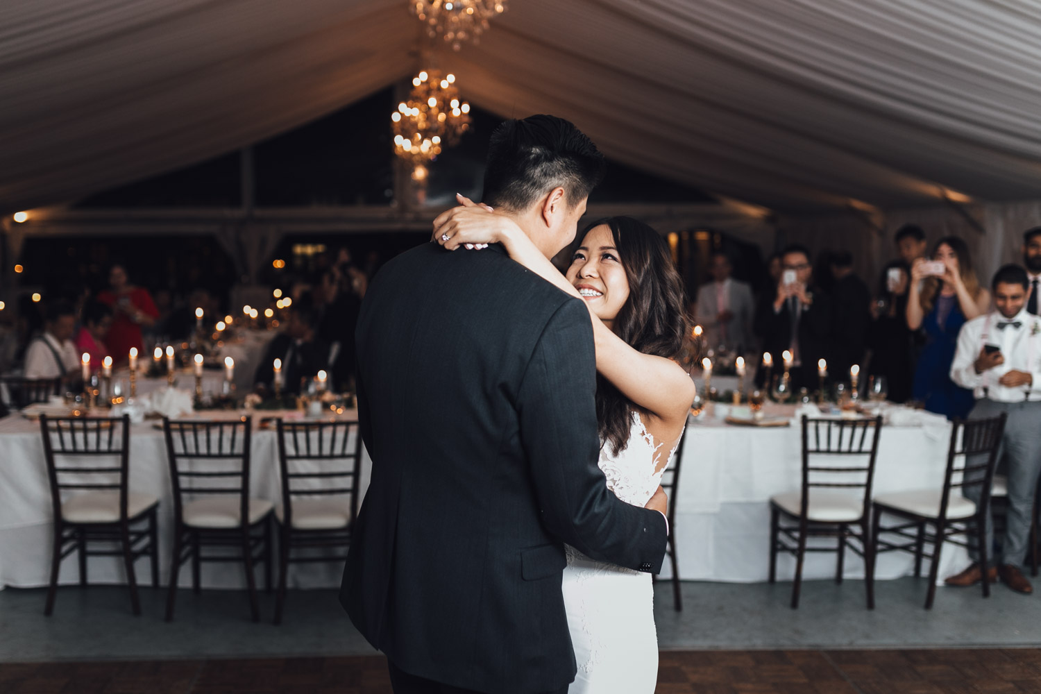 first dance vancouver wedding reception photography at hart house restaurant in bc