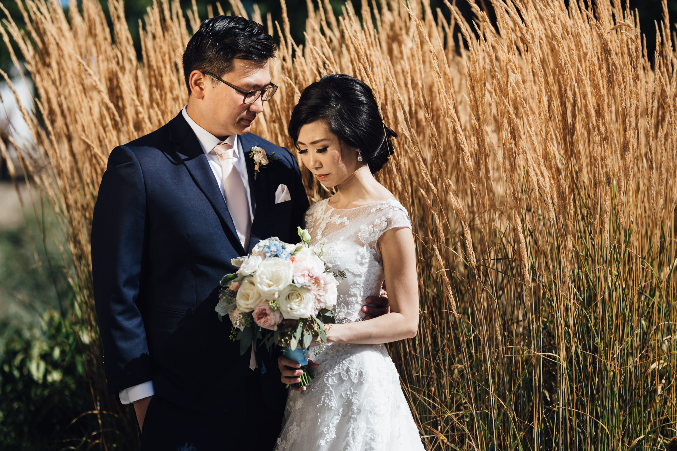 ubc wedding photography portraits of bride and groom during summer