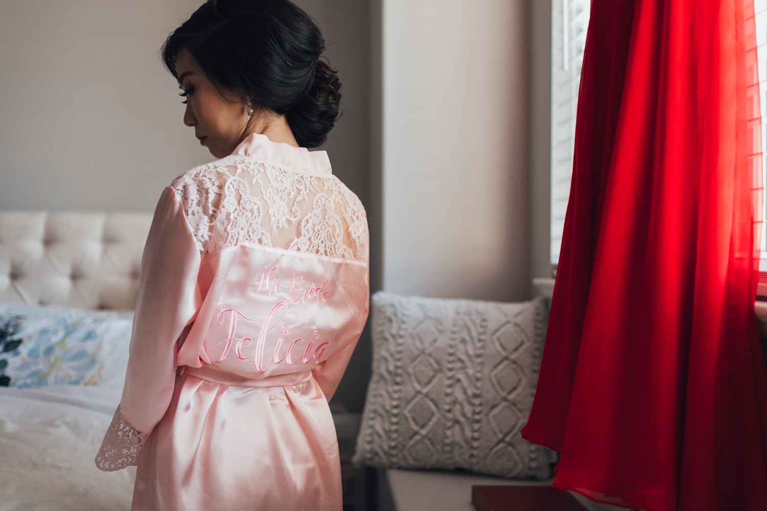bride custom robe burnaby wedding photography getting ready