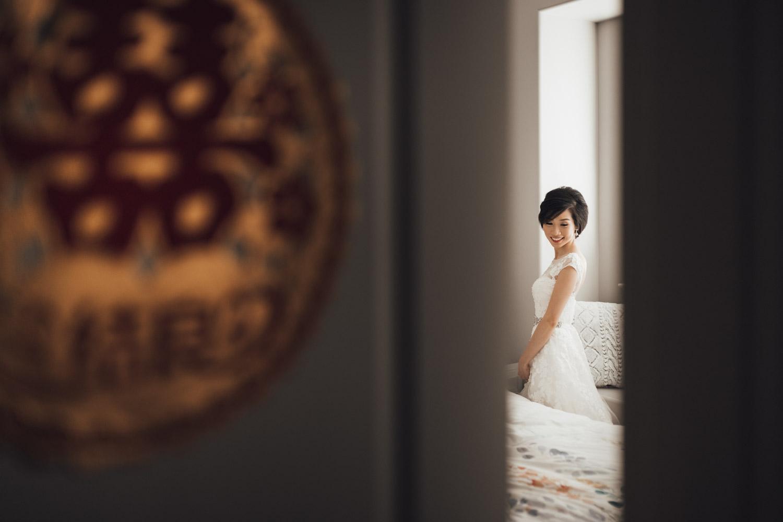 bride getting into wedding dress in burnaby