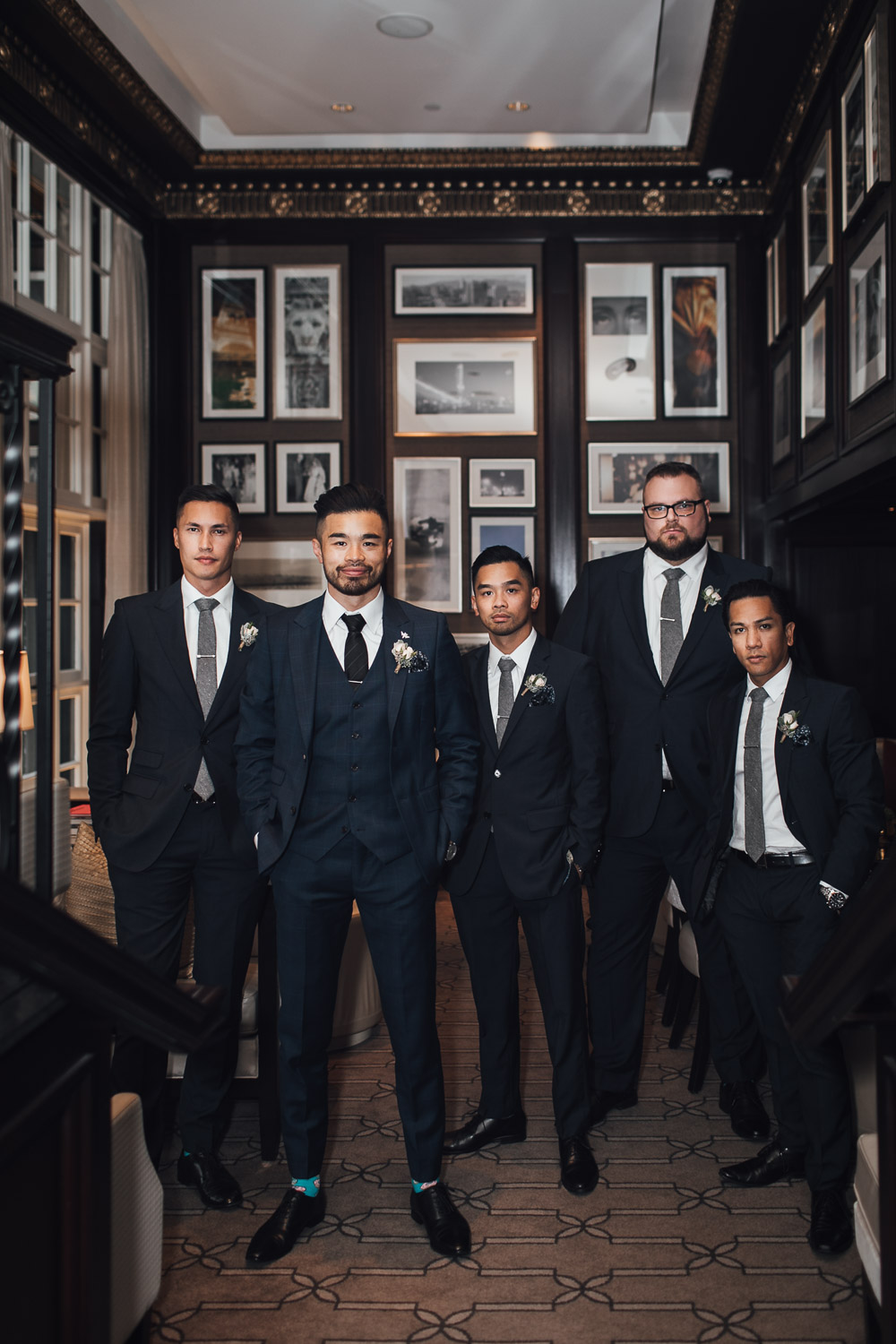 groom and groomsmen vancouver wedding photography at rosewood hotel georgia
