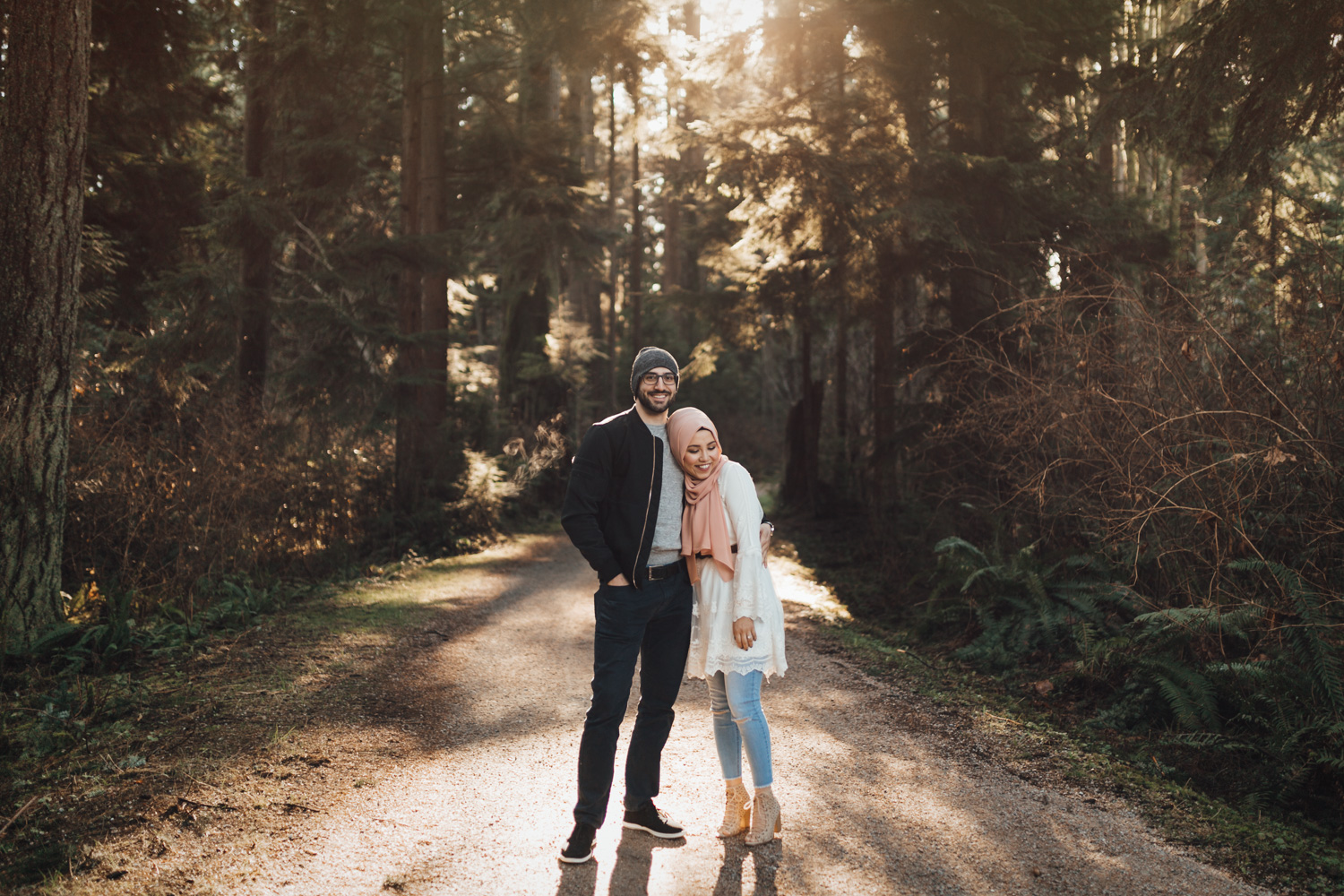 engagement photography in stanley park during winter