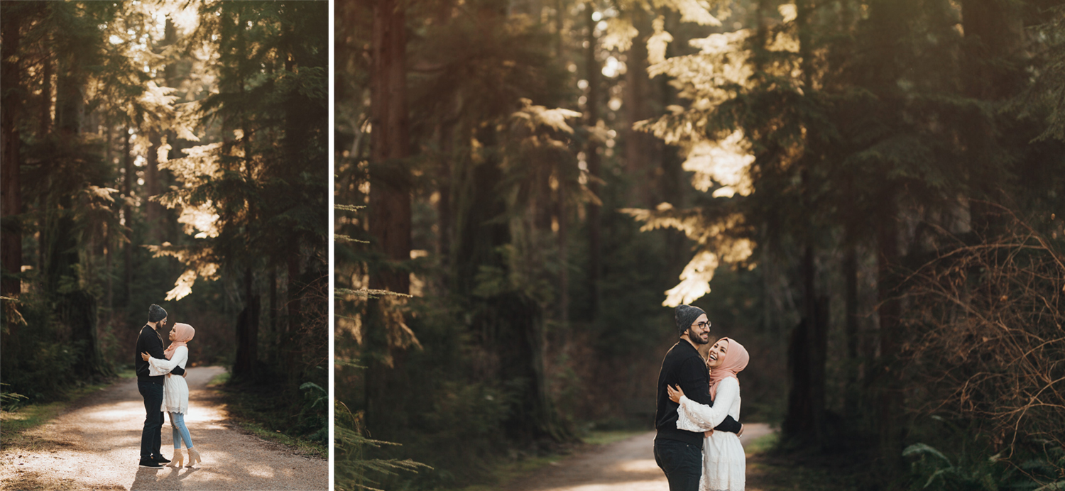 winter engagement session photography in stanley park prospect point