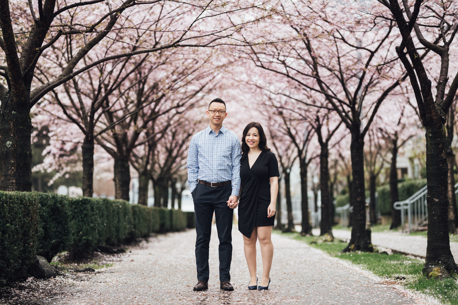 cherry blossoms in vancouver bc engagement photography