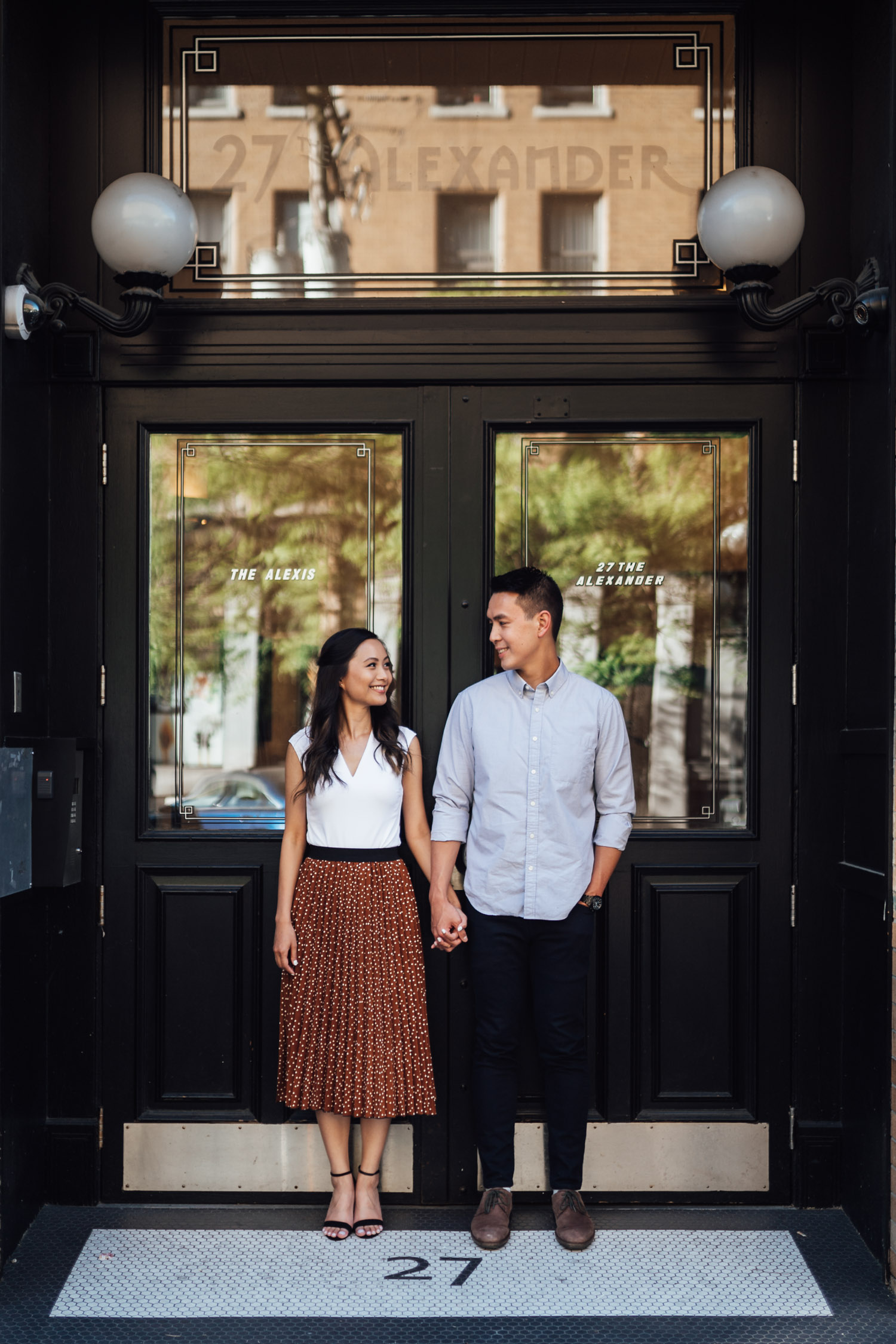vancouver engagement photography in gastown during sunset vancouver bc