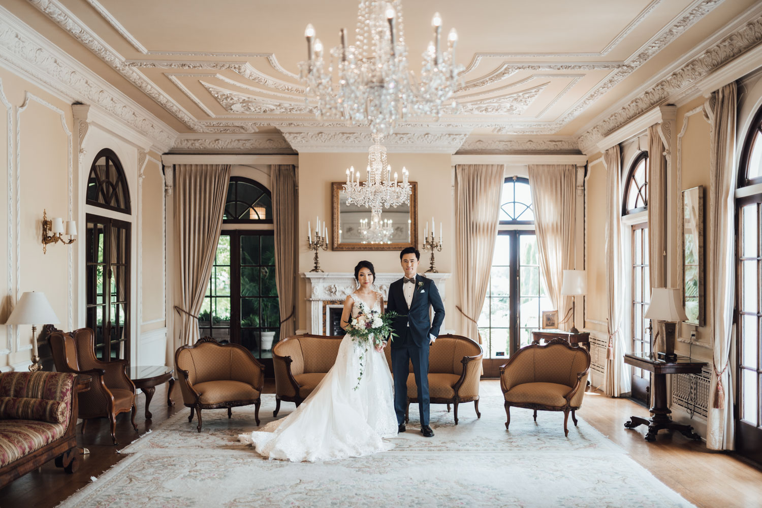 hycroft drawing room vancouver wedding photography bc bride and groom