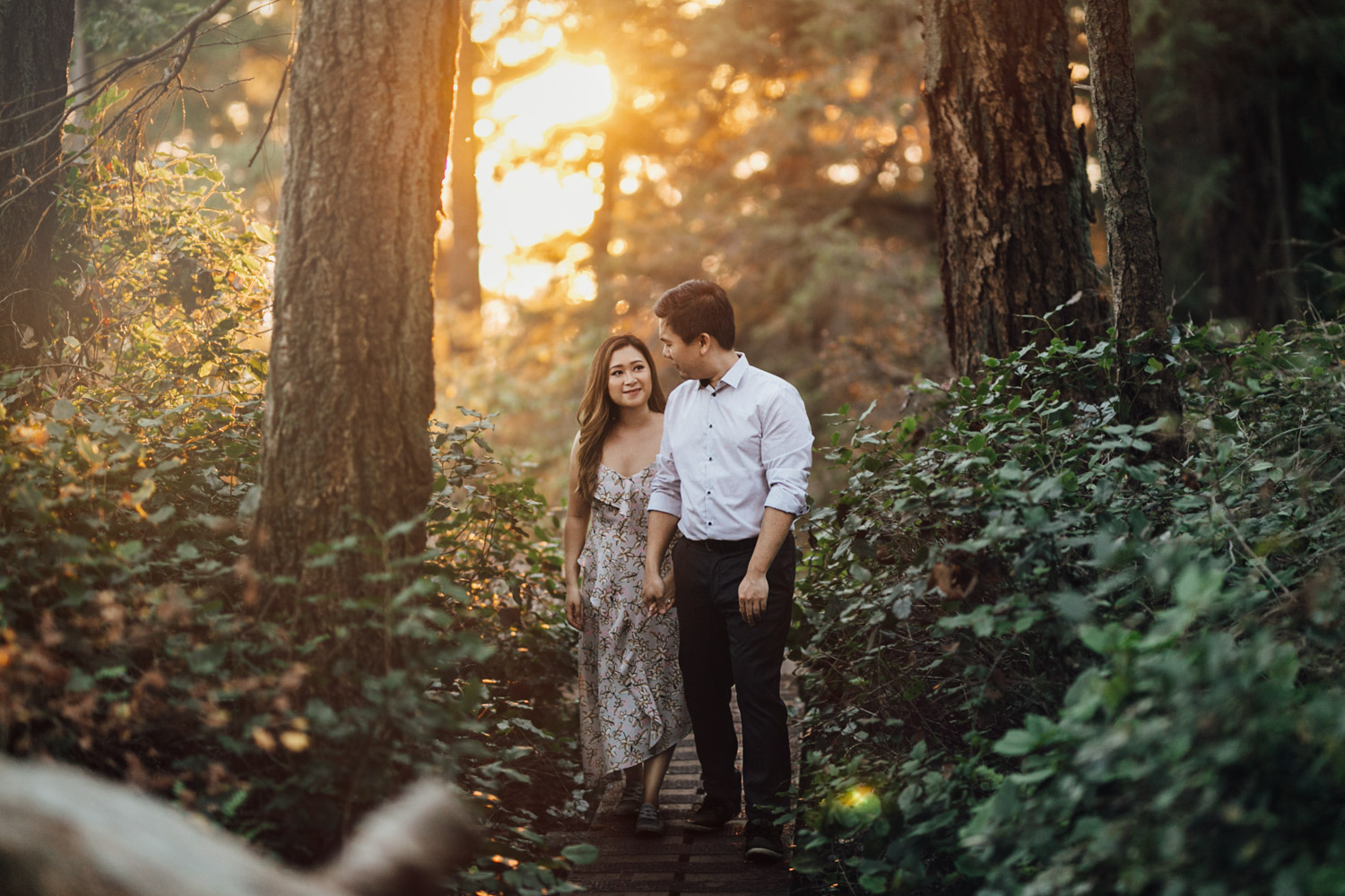 west vancouver engagement photography at lighthouse park during a summer sunset film