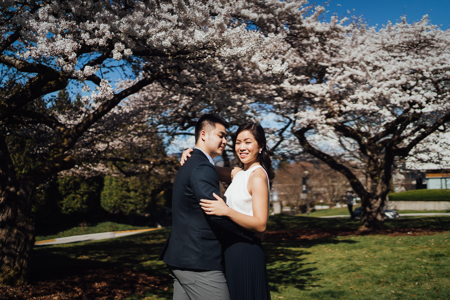 vancouver engagement photography during cherry blossom season at UBC