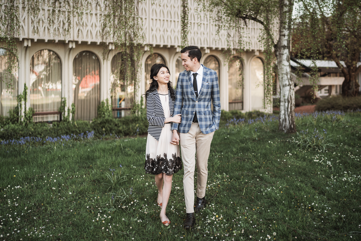 museum of vancouver engagement photography during spring cherry blossom season