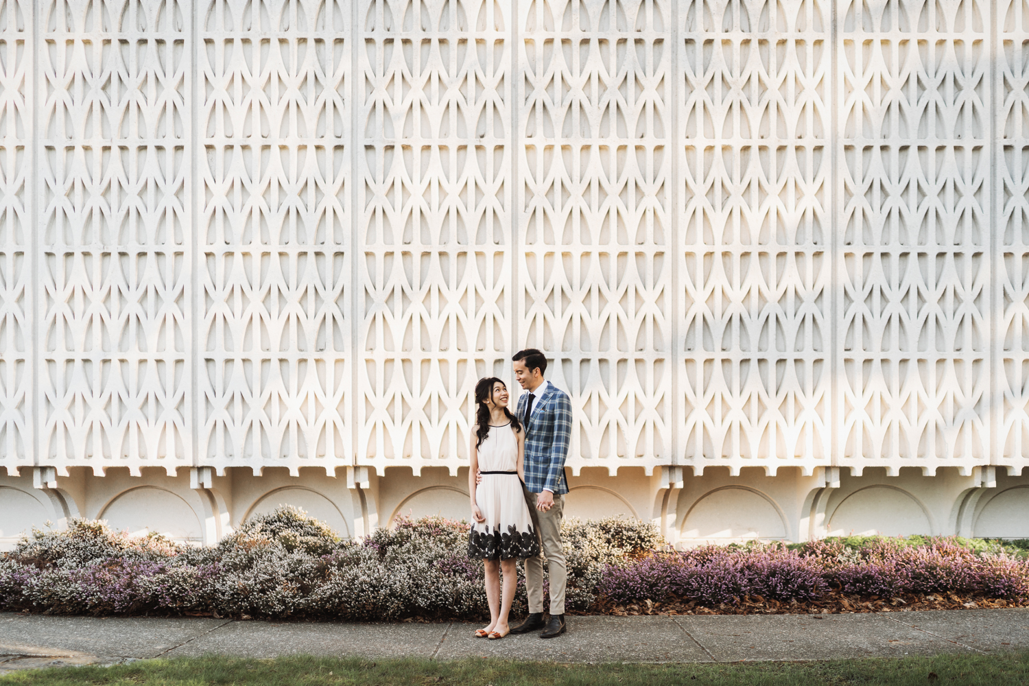 vancouver museum of vancouver architecture engagement photography during cherry blossom season