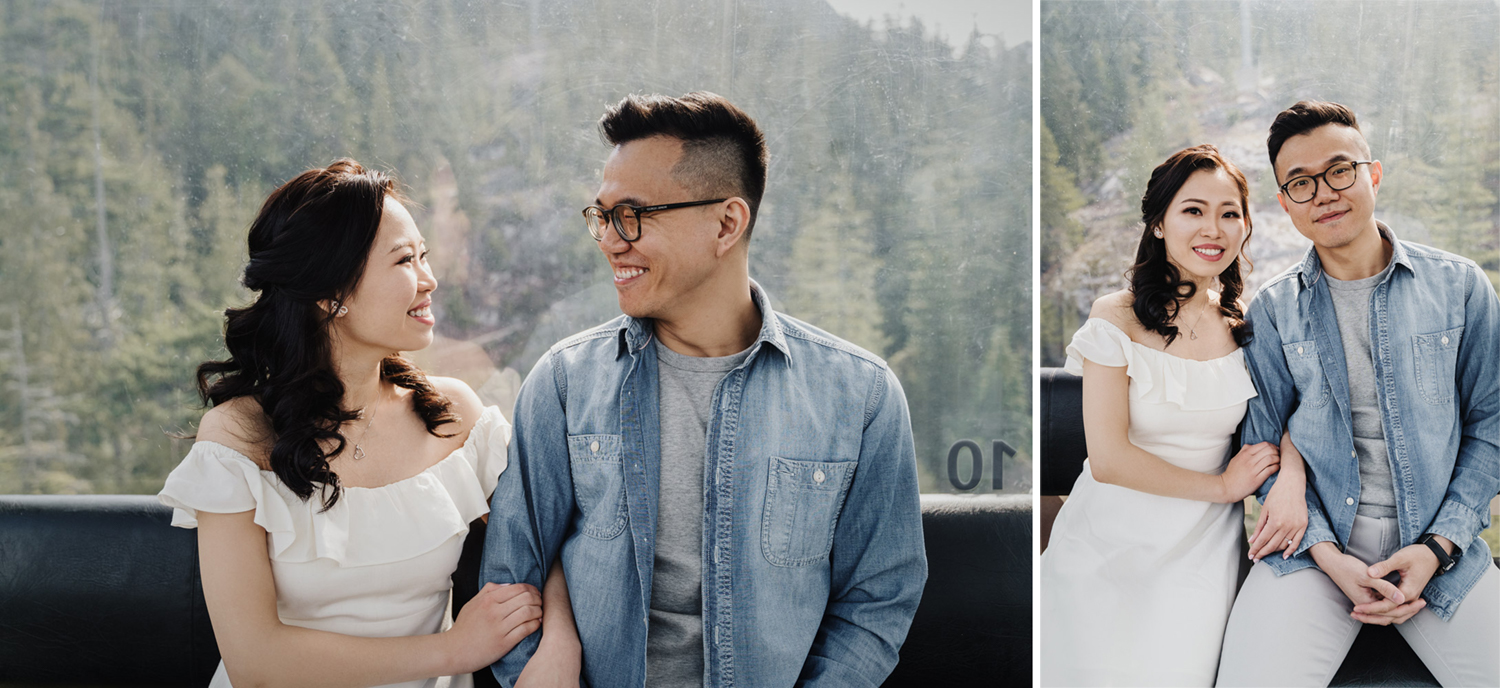 sea to sky gondola engagement photography ride up to the peak