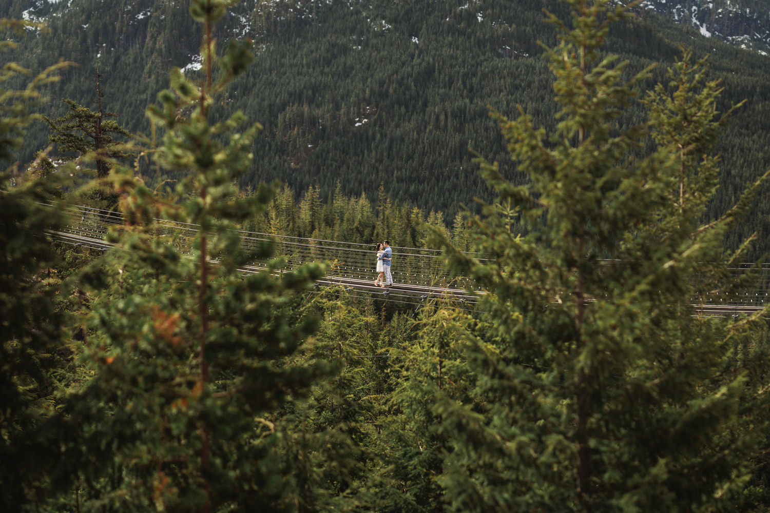 sea to sky gondola engagement photography suspension bridge