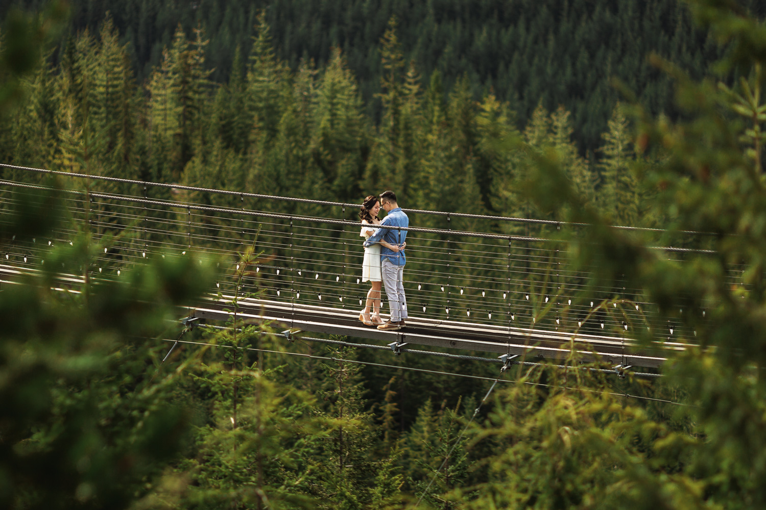 sea to sky gondola engagement photography suspension bridge peak
