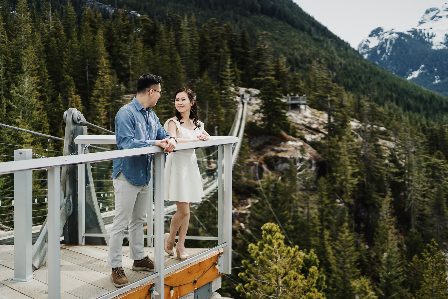 sea to sky gondola engagement photography suspension bridge squamish bc